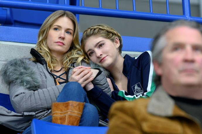January Jones and Willow Shields in Spinning Out.
