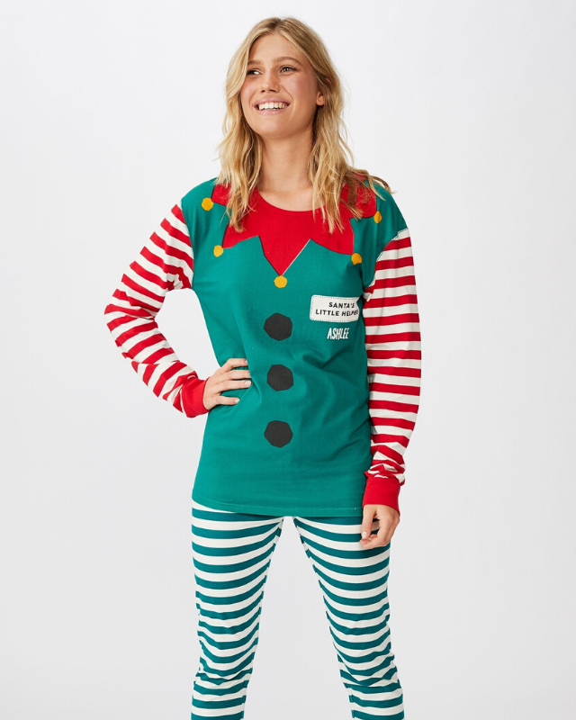 "These unisex Christmas-themed pyjamas can be personalised with your own name on them! <br><br> **[$55 from Cotton On](https://cottonon.com/AU/personalised-jo-unisex-pj-set/773203-02.html?dwvar_773203-02_color=773203-02&cgid=kids-girls-1-8&originalPid=773203-02|target=""_blank""