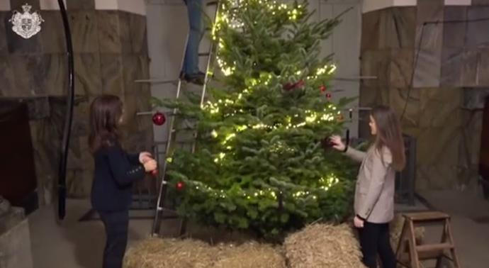 The video features the family decorating a giant Christmas tree.