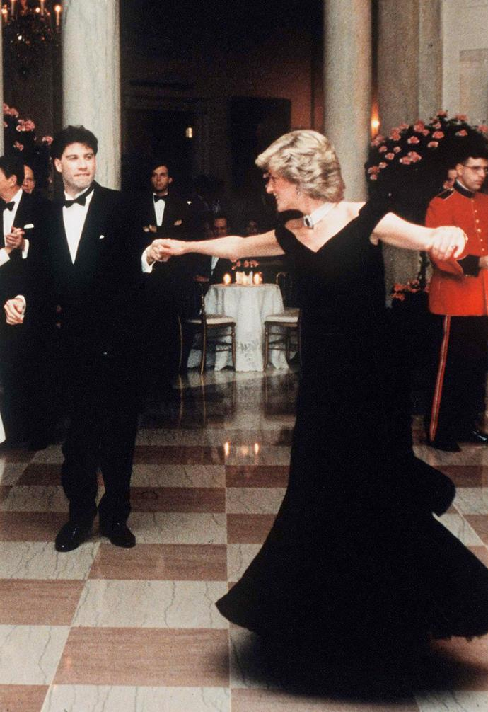 Princess Diana famously wore this stunning black dress while she danced with John Travolta in 1985.