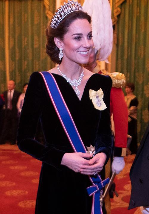 Kate was radiant in a regal Alexander McQueen gown at the Queen's Diplomatic Reception in December.