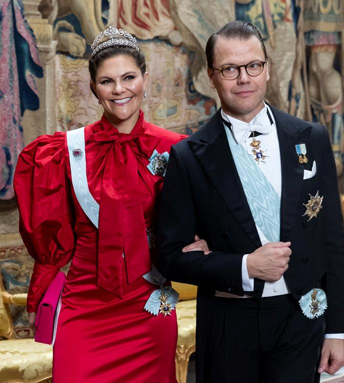 Crown Princess Victoria drew every eye in the house in this bold red ensemble.