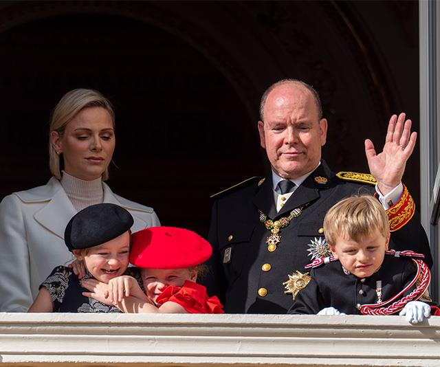 Princess Charlene and Prince Albert of Monaco look on with their twins.