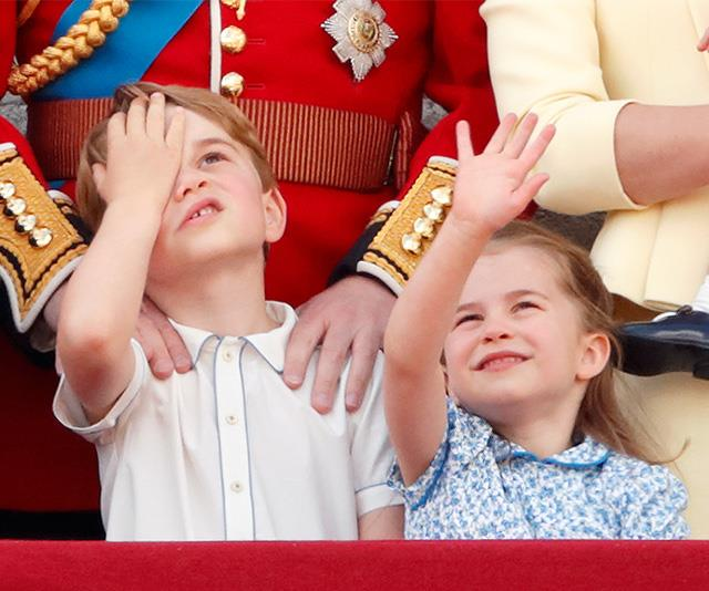 Prince George and Princess Charlotte look on at Trooping the Colour.