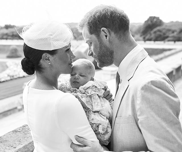 Prince Harry and Duchess Meghan released this official family portrait following the birth of baby Archie, taken at his christening.