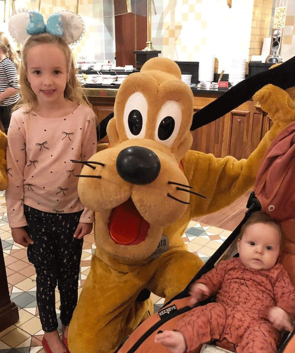Dinner with Pluto... as you do in Disneyland.