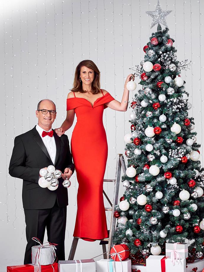 Natalie Barr and David Koch host Channel Seven's *Carols In The Domain.*