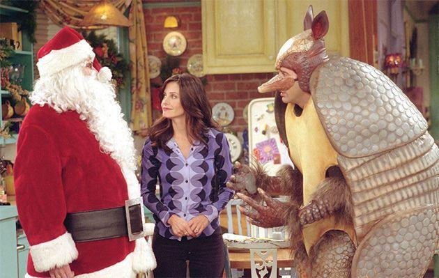 """**Friends (Stan)** <br><br> ***Season 7, Episode 10 – """"The One With The Holiday Armadillo""""*** <br><br> Name a more iconic Christmas figure than the very well-known and not at all fake Holiday Armadillo. I'll wait. <br><br> In an attempt to teach his son Ben about their Jewish heritage, Ross decides to celebrate Hanukah by dressing up as Santa Claus to talk to him about the holiday. When the costume store runs out of Santa outfits, he dresses up as the 'Holiday Armadillo' instead. <br><br> Meanwhile, Phoebe is busy trying to sabotage Rachel and Joey's apartment with extravagant gifts so that Rachel will move back in with her."""