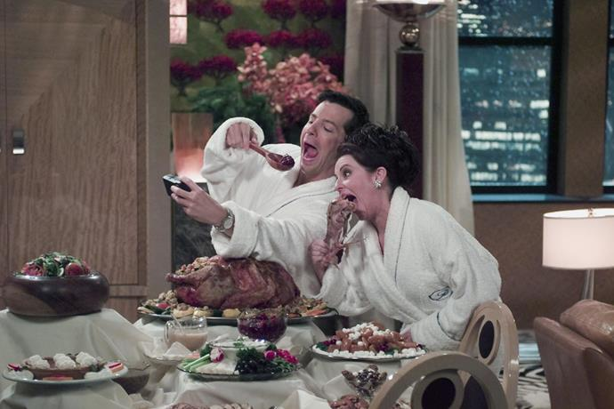 """**Will & Grace (Stan)** <br><br> ***Season 5, Episode 11 – """"All About Christmas Eve""""*** <br><br> When Grace and her new husband Leo decide to spend Christmas Eve at The Nutcracker, Will decides to join Jack and Karen in her penthouse eating an extravagant feast and singing Christmas carols. <br><br> True to form, a selfish Grace invites Will to join her when Leo has to cancel, making him ditch Jack and Karen. But when Leo turns up, Will is sent packing. After repeating the circle over again, eventually the entire gang end up at the penthouse in bath robes."""