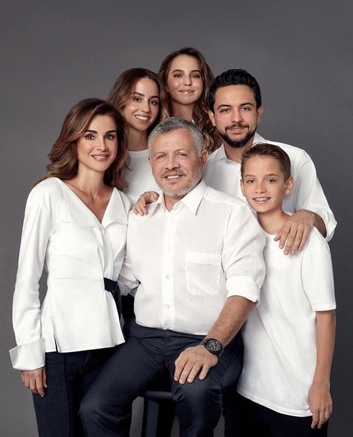 Queen Rania of Jordan and her family posed in white shirts and jeans for their photo.