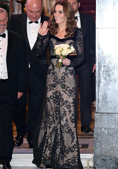 "Later that month, the Duchess glowed in an Alexander McQueen gown, which featured sheer lace detailing as she attended the annual [Royal Variety Performance](https://www.nowtolove.com.au/royals/british-royal-family/kate-middleton-prince-william-royal-variety-60389|target=""_blank""). Obsessed!"
