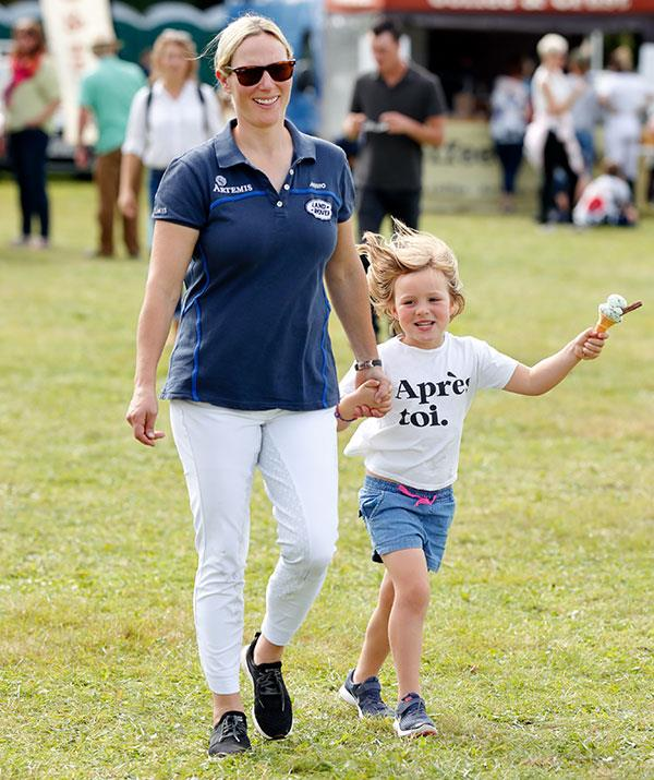 A joyful Zara and Mia at the Gatcombe International Horse Trials in September 2019.
