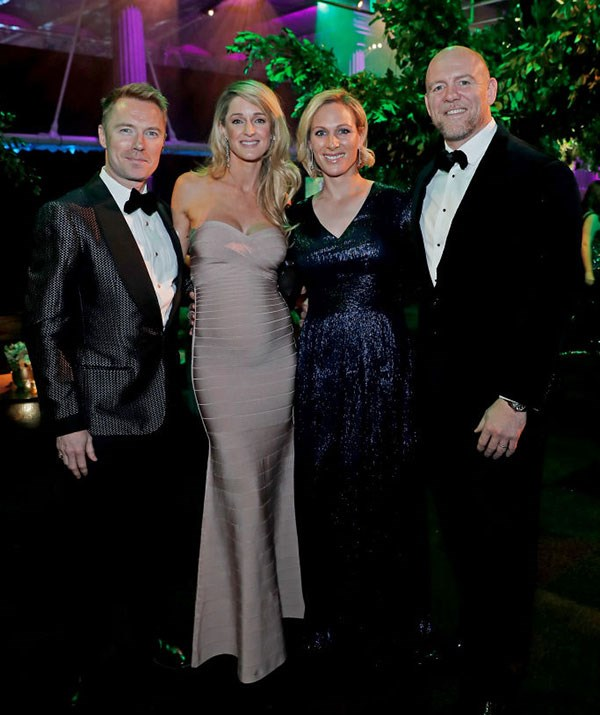 Mike and Zara with Ronan Keating and his wife at a recent black tie event. Getty