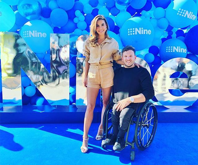 Lauren Phillips, pictured here with tennis star Dylan Alcott, has worked with Channel Nine for years.