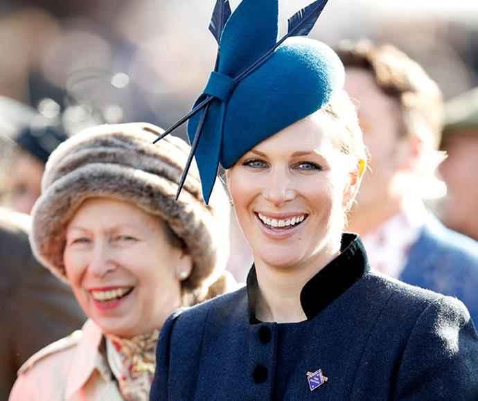 Zara with her mother, Princess Anne, watching the racing on day 1 'Champion Day' of the Cheltenham Festival in March, 2019.