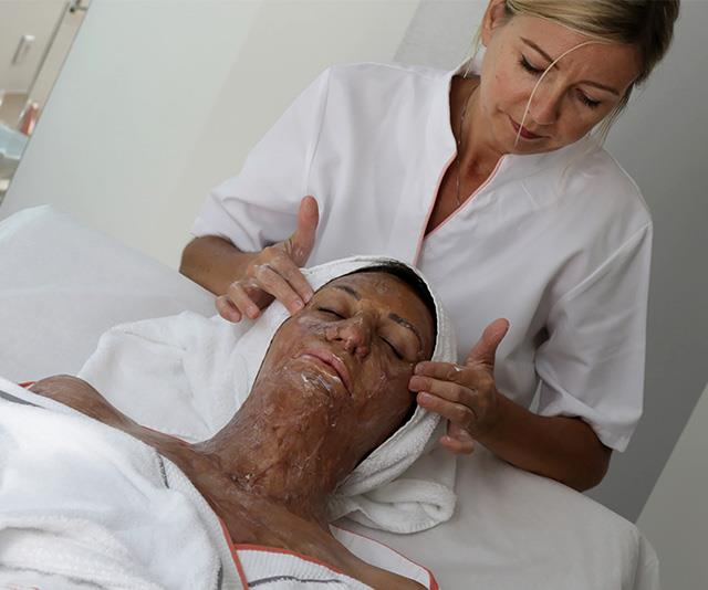 Turia pictured during a skin treatment in France.