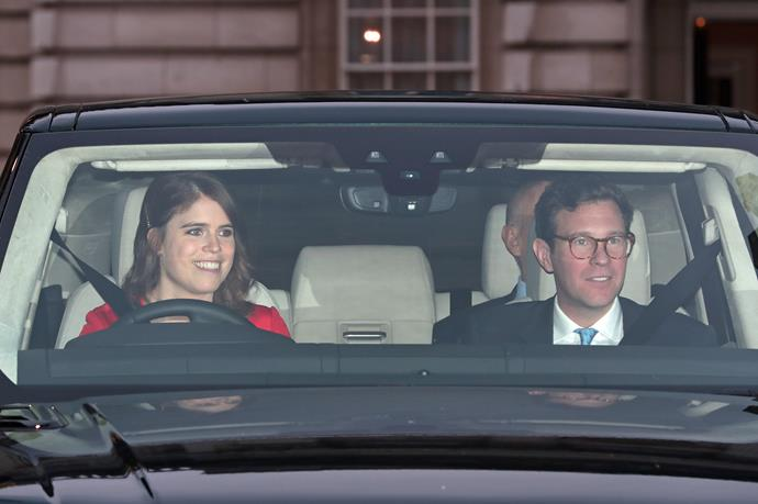 Princess Eugenie was spotted behind the wheel with her husband Jack Brooksbank beside her.