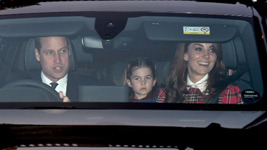 Kate, Wills and the royal brood arrive at the Queen's pre-Christmas lunch