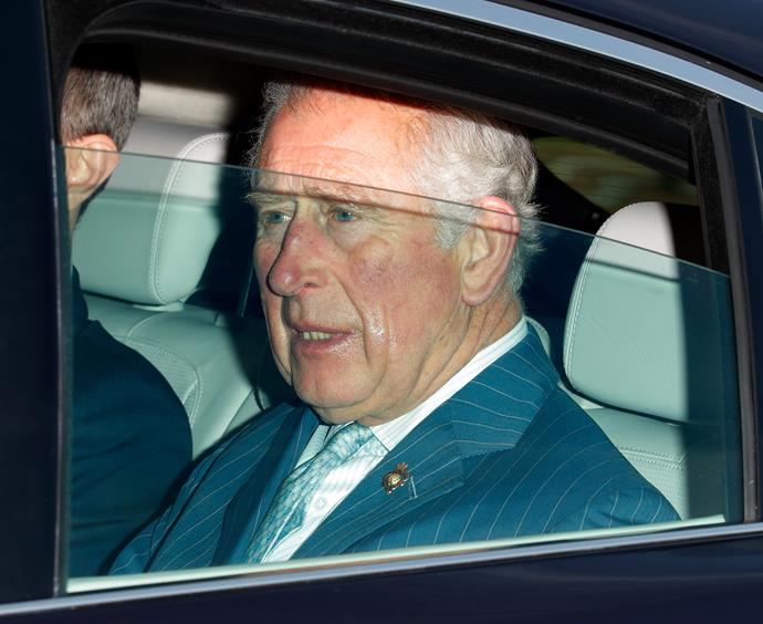 Prince Charles was spotted riding in the back seat.
