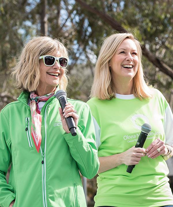 Melissa Doyle with Olivia Newton-John at the annual Wellness Walk and Research Run