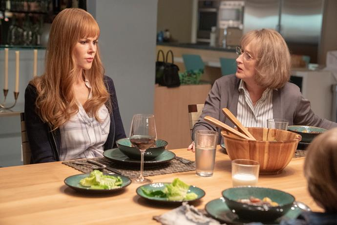 **MARY-LOUISE'S EAR-PIERCING SCREAM (BIG LITTLE LIES)** <br><br> As Mary-Louise, the mother of the abusive − and now dead − Perry, Meryl Streep stole every scene in season two of *Big Little Lies.* When she sat at the dinner table to share stories of her beloved Perry (Alexander Skarsgård) with her grandsons, the emotions became too much for her to bear. Letting out a harrowing scream that sounded as if it came from the depths of hell sent chills down the spines of all who watched.