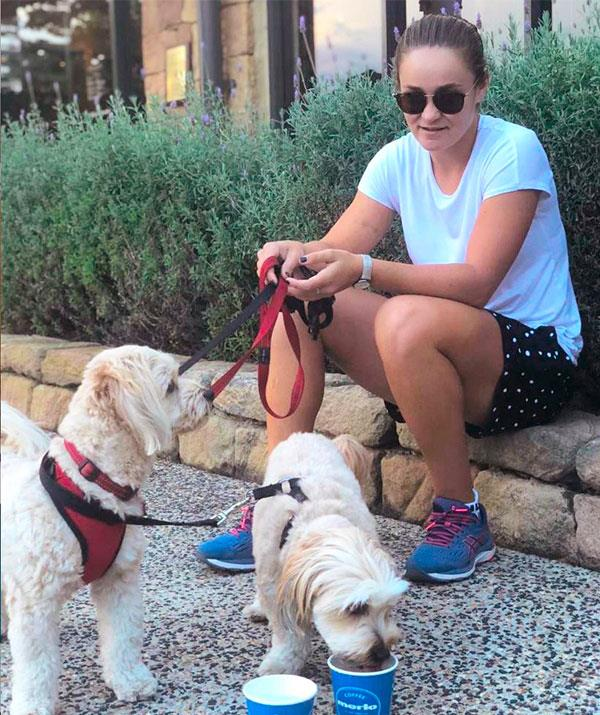 Ash Barty loves to spend down time with her dogs in Brisbane when shes not on the court.