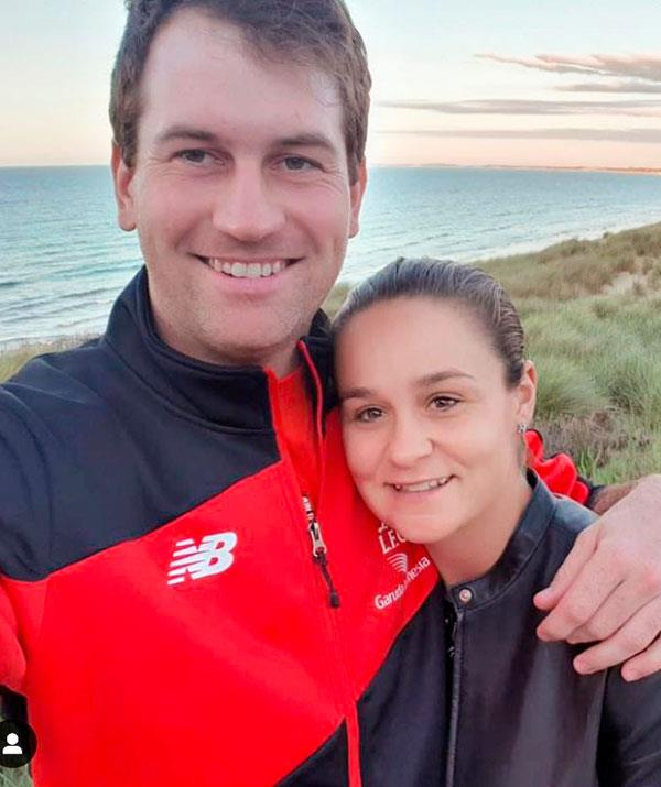 Ash Barty recharges by spending time with her family, friends, partner (pictured) and dogs.