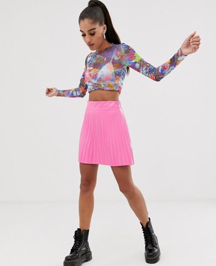 "ASOS Design vinyl pleated mini skirt, $50. [Buy it online here](https://www.asos.com/au/asos-design/asos-design-vinyl-pleated-mini-skirt/prd/12569428|target=""_blank""|rel=""nofollow"")."