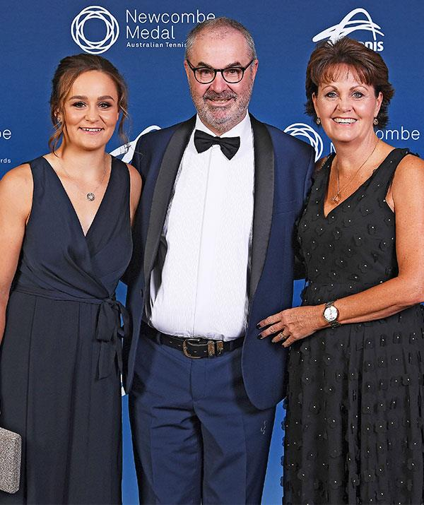 Ash Barty with her parents Robert and Josie Barty