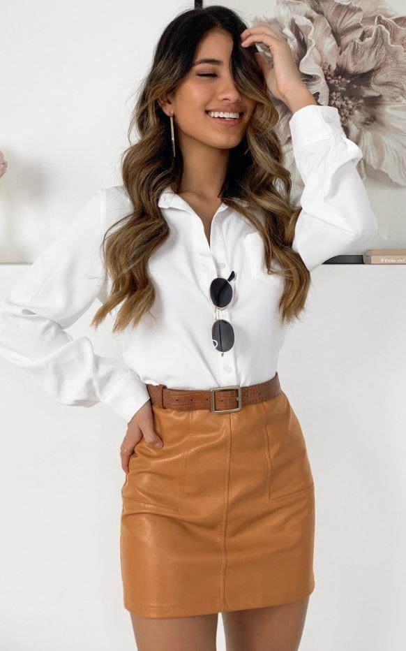 "Showpo not stopping skirt, $49.95. [Buy it online here](https://www.showpo.com/not-stopping-skirt-in-camel-leatherette|target=""_blank""|rel=""nofollow"")."