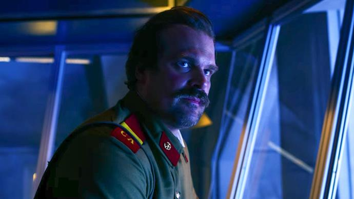 **HOPPER DIES (STRANGER THINGS)** <br><br> We reached for the tissues when loveable Chief of Police Jim Hopper (David Harbour) – Eleven's adopted father – nodded at Joyce to destroy the machine keeping the door to the Upside Down open, thus sealing his fate in the season finale of *Stranger Things.* Dev-a-stated.