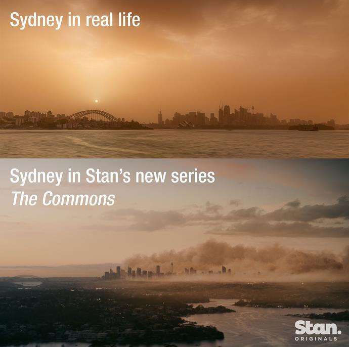 This still from the series - which was created *before* the devastating bushfires - is eerily similar to the current landscape in Sydney.