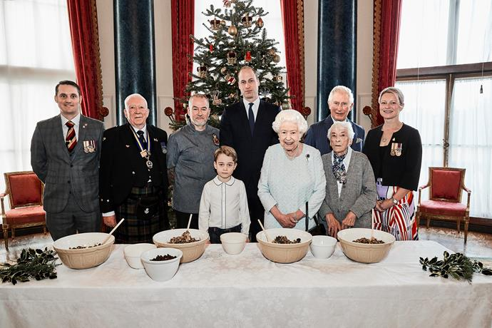 The royals are joined by veterans in one of the images.