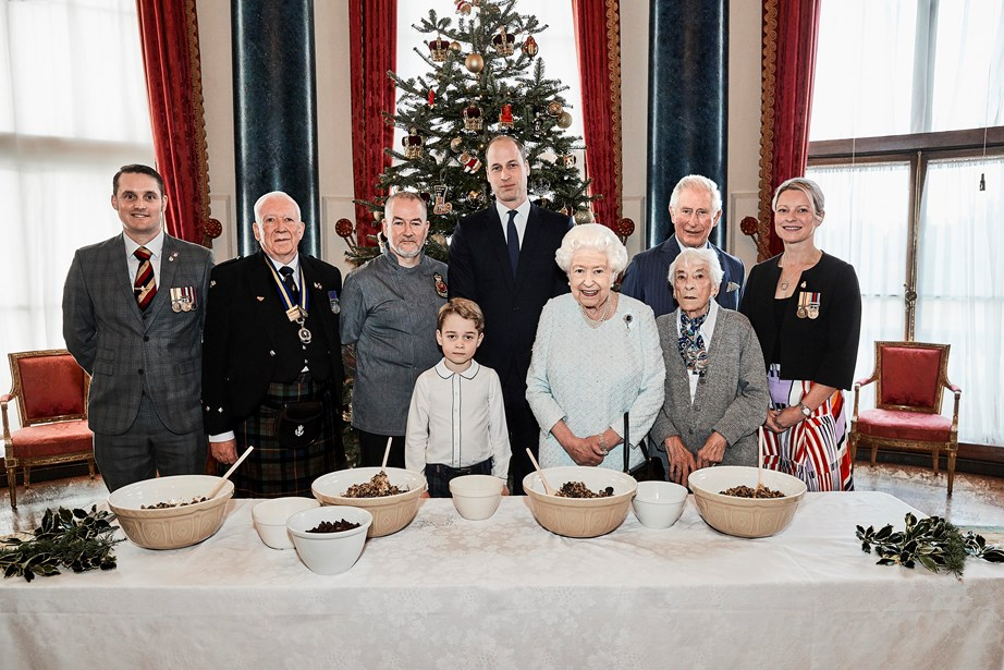 The royals also had some helping hands with their Christmas pudding making, including veterans of the Armed Forces and a Legion care home chef. *(Image: Getty)*