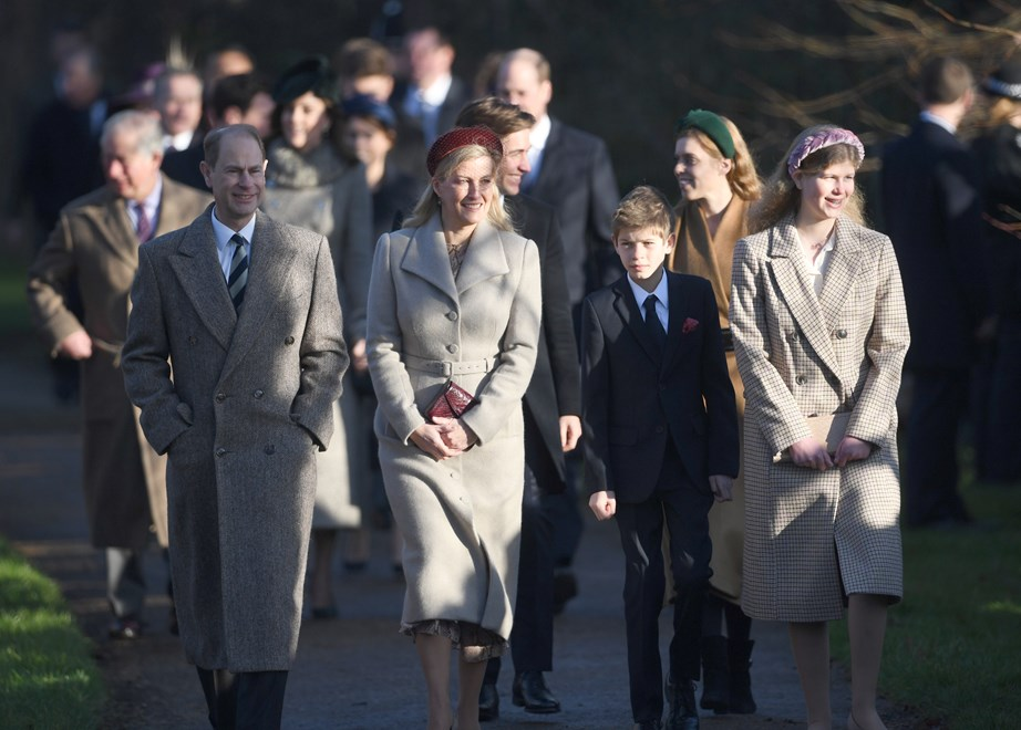 The Wessex family looked very colour-coordinated on their way to church. *(Image: Getty)*