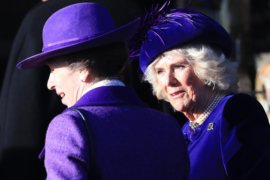 Princess Anne and Duchess Camilla coordinated in purple for this year's service. *(Image: Getty)*