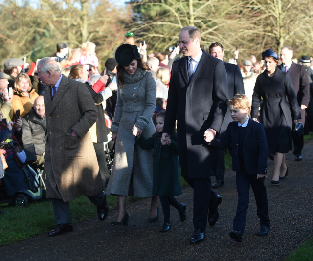 Grandpa Wales (Prince Charles) was also spotted with the family. *(Image: Getty)*