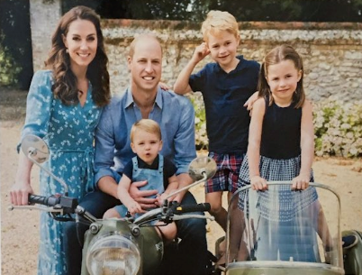 The Cambridge family Christmas card sat pride of place on the Queen's desk.