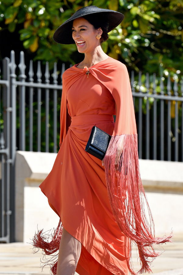 Janina looked stunning as she arrived at Harry and Meghan's wedding in 2018.