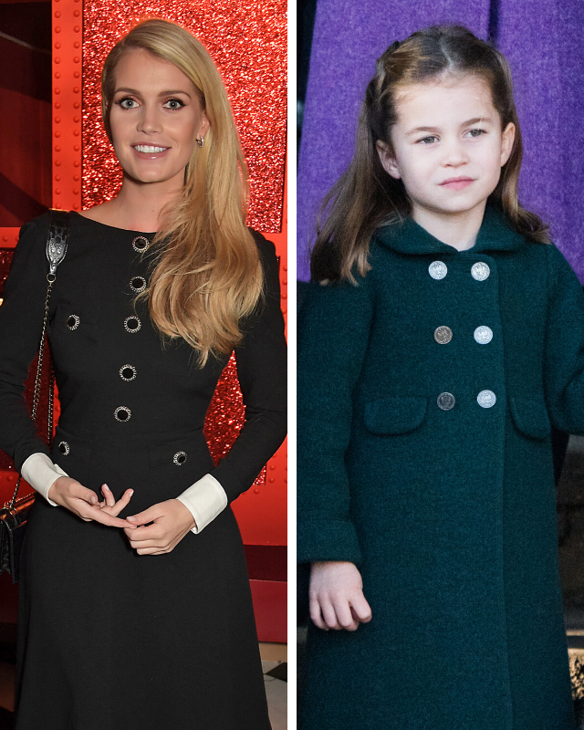 Lady Kitty Spencer (left) and Princess Charlotte (right) both pictured enjoying their Christmas celebrations in 2019.