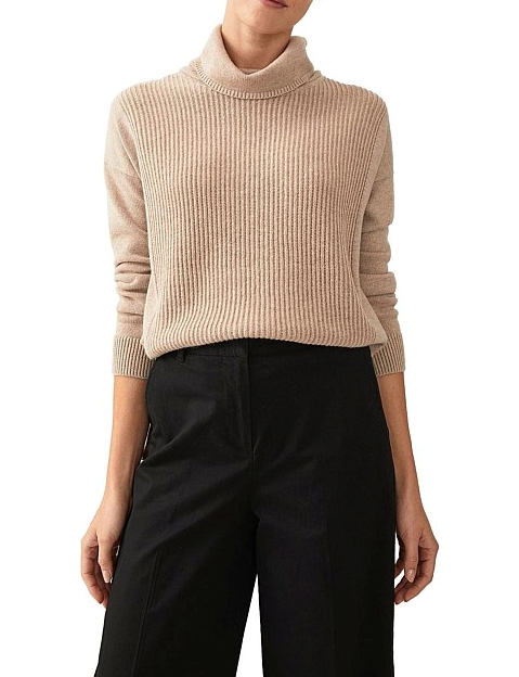 "Trenery stitch front merino roll neck, $79.95. [Buy it online via David Jones here](https://www.davidjones.com/women/clothing/knitwear/22299666/Stitch-Front-Merino-Roll-Neck.html target=""_blank"" rel=""nofollow"")."