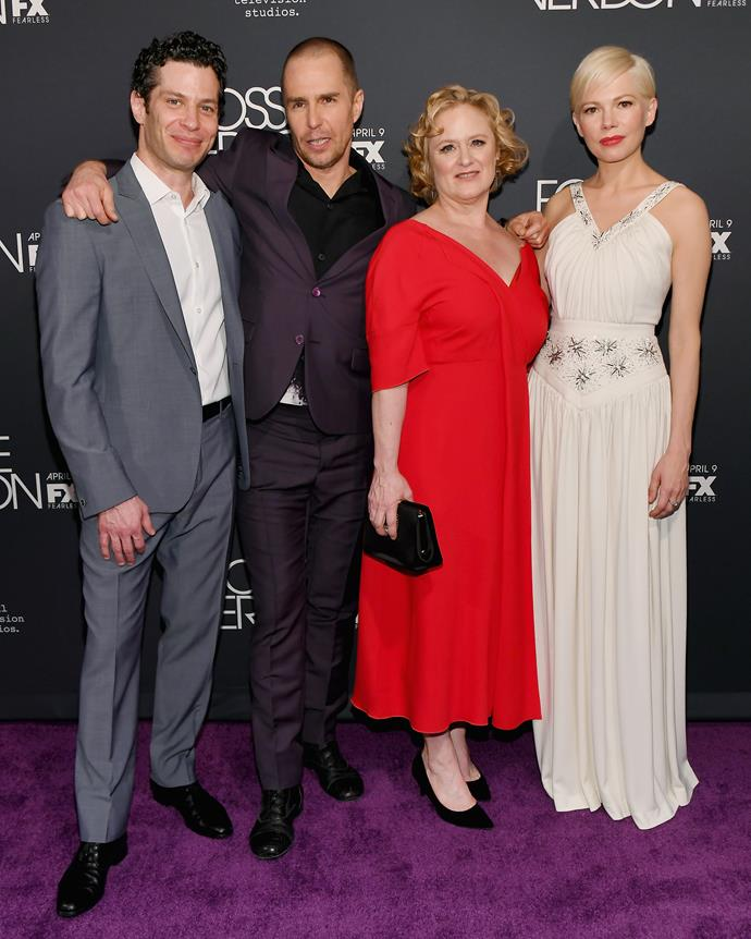 Michelle Williams (far right) and director Thomas Kail (far left) are engaged and expecting.