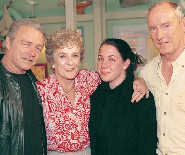 L-R: Don Fisher (Norman Coburn), Ailsa Stewart (Judy Nunn), Sally Fletcher (Kate Ritchie) and Alf Stewart (Ray Meagher)