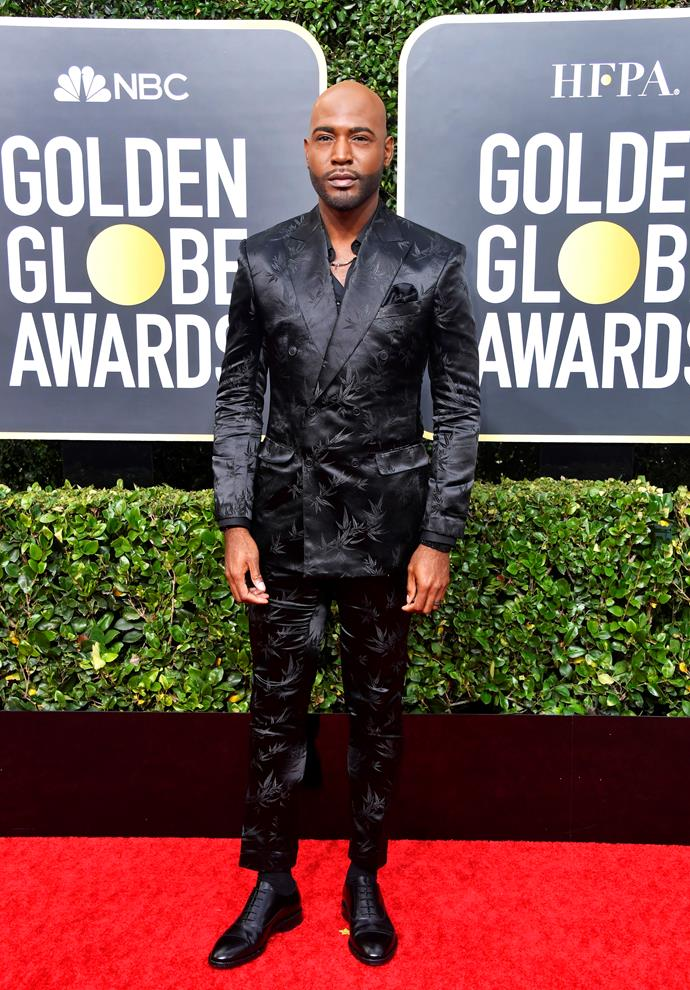 *Queer Eye's* Karamo Brown gives his best blue steel in an all-black two-piece suit - check out that unique print!