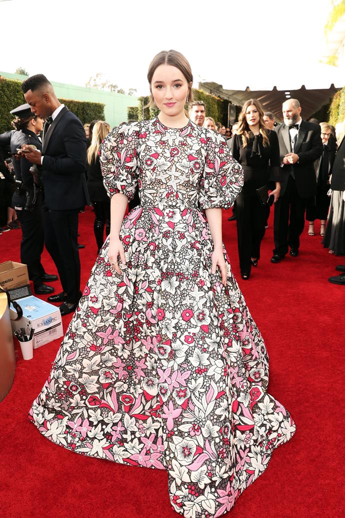 Kaitlyn Dever turns heads in this dramatic floral gown.