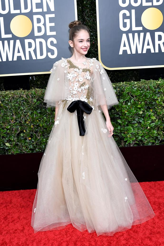 Ten-year-old rising star Julia Butters, who stole the screen in *Once Upon a Time in Hollywood*, looks fit for a Princess in this tulle-clad creation.
