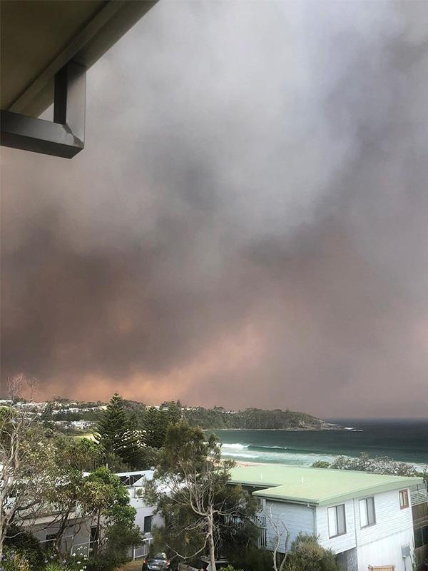 "This is a photo Turia uploaded from her home in Mollymook.  <br><br> ""It's been a crazy time on the South Coast, with unprecedented conditions and a lot of fear and loss,"" she wrote on Instagram, along with a list of ways people can help.  ""But there are lots of people doing really awesome work for our community. THANK YOU! ❤️ If you want to help, you can do so by ... Supporting local businesses, donating to Treading Lightly (a local grassroots organisation directly getting help where it is needed, and donating to the RFS""."