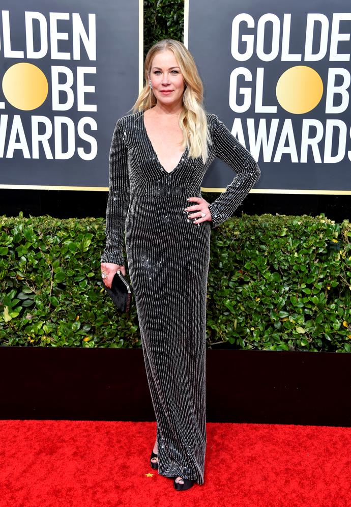 Christina Applegate is literally glittering in this black sparkly gown. And we want her hair secrets STAT.