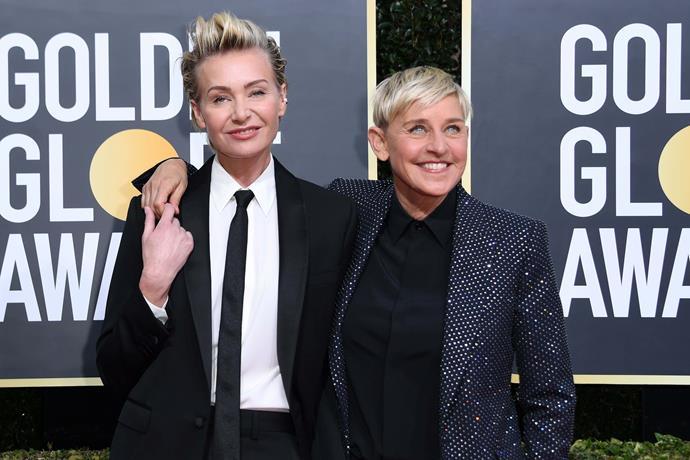 Ellen DeGeneres and partner Portia de Rossi are all smiles for the camera.