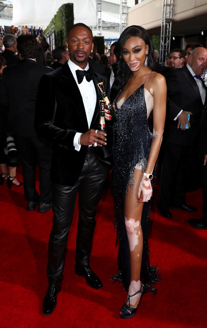 Winnie Harlow & LaQuan Smith pose up a storm on the red carpet.